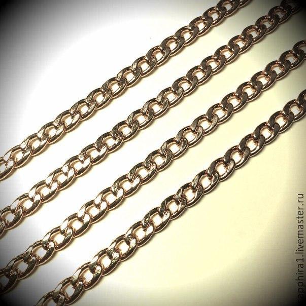 Цепочка 4,8:6,5  gold plated  50 см, Для украшений, Санкт-Петербург, Фото №1