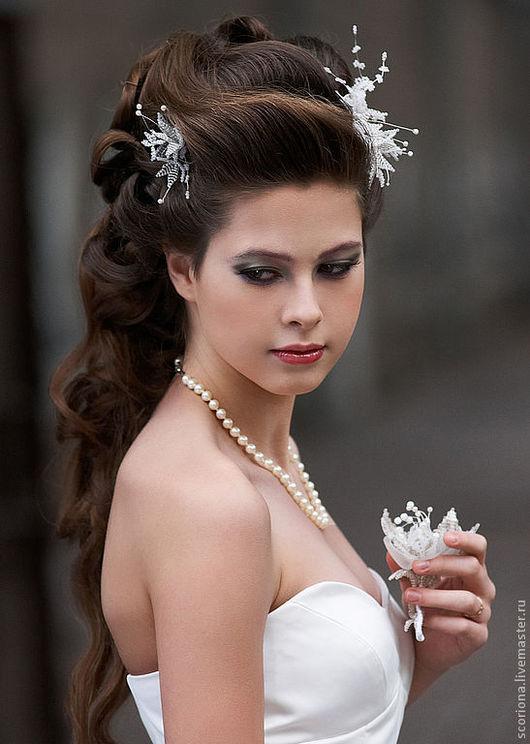Свадебные украшения ручной работы. Ярмарка Мастеров - ручная работа. Купить Цветы для свадебной прически. Handmade. Свадебные аксессуары, scoriona