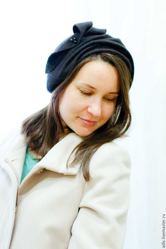 Шляпы ручной работы. Ярмарка Мастеров - ручная работа. Купить Шляпа накладка «черный фетр». Handmade. Черный, шляпка накладка