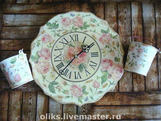 Часы для дома ручной работы. Ярмарка Мастеров - ручная работа. Купить Деревянные часы  Розы винтаж. Handmade. Бледно-розовый