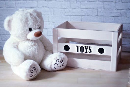 Детская ручной работы. Ярмарка Мастеров - ручная работа. Купить Ящик для игрушек. Handmade. Белый, дерево, ящик из дерева, ящик