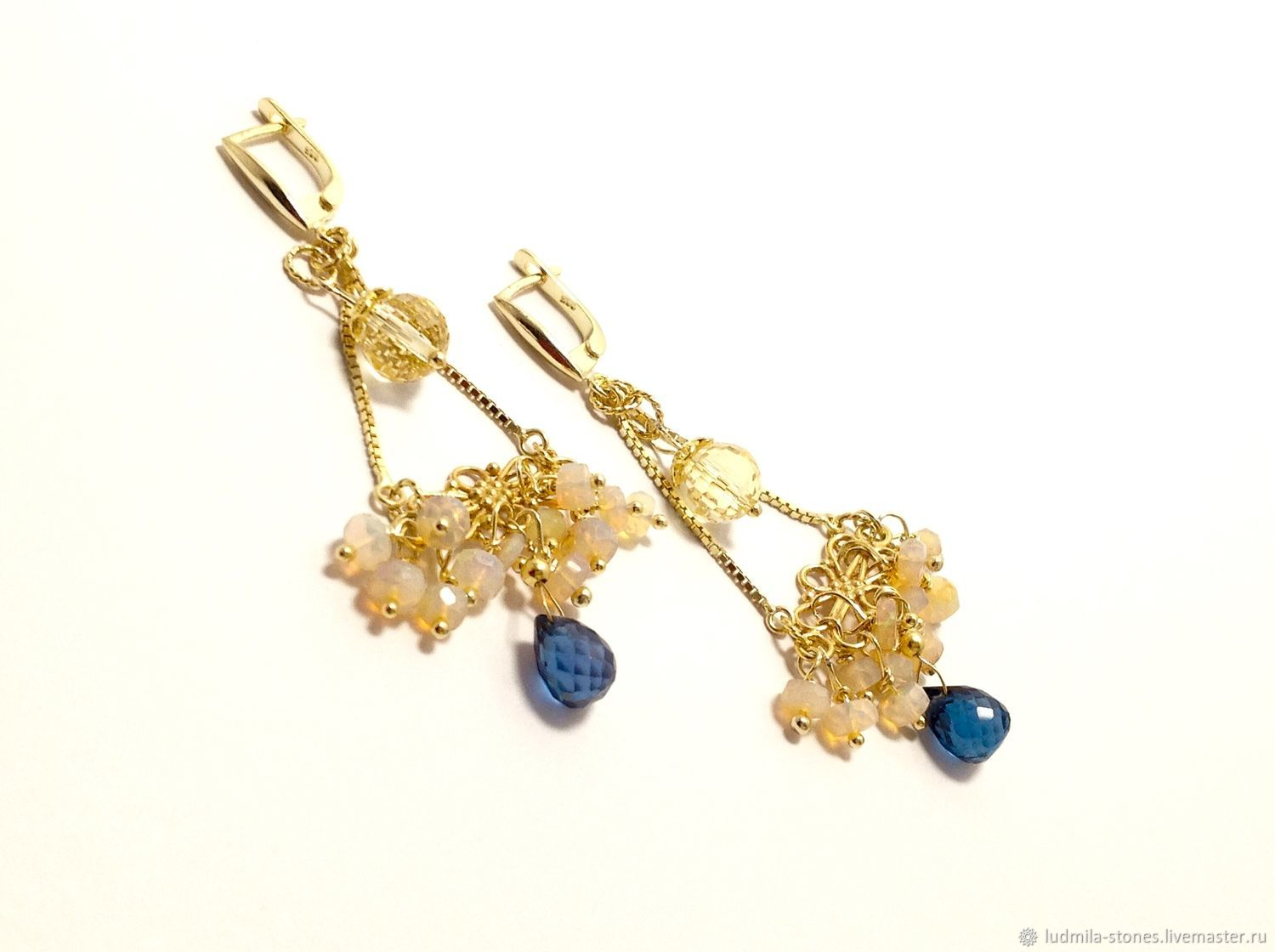 Earrings with opal and blue Topaz, Earrings, Moscow,  Фото №1