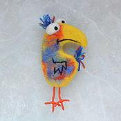 Брошь-булавка ручной работы. Ярмарка Мастеров - ручная работа Валяная брошь Птица счастья. Handmade.