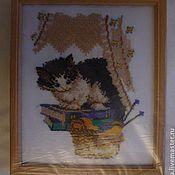Картины и панно ручной работы. Ярмарка Мастеров - ручная работа котенок вышитая крестом картина. Handmade.