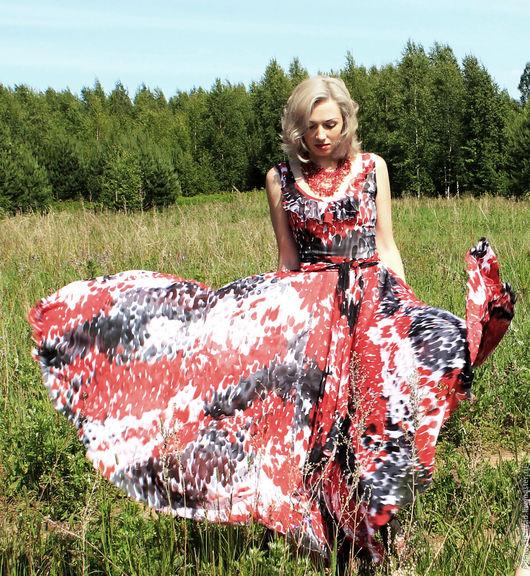 Платья ручной работы. Ярмарка Мастеров - ручная работа. Купить Летящее шифоновое платье. Handmade. Комбинированный, белый, шифон