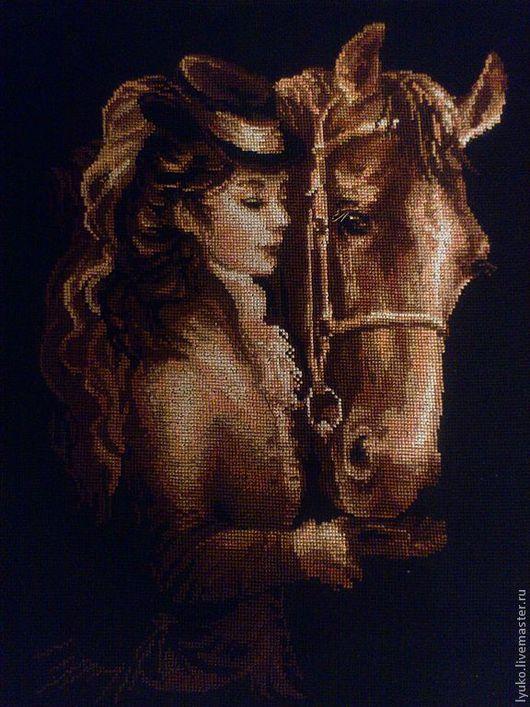 """Люди, ручной работы. Ярмарка Мастеров - ручная работа. Купить Вышивка крестом """"Амазонка"""". Handmade. Вышивка, черный фон, лошадь"""