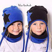 Работы для детей, ручной работы. Ярмарка Мастеров - ручная работа Двусторонняя шапка и снуд из флиса. Handmade.
