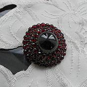 Брошь - Подвеска Серебро Позолота Богемские Гранаты Антик