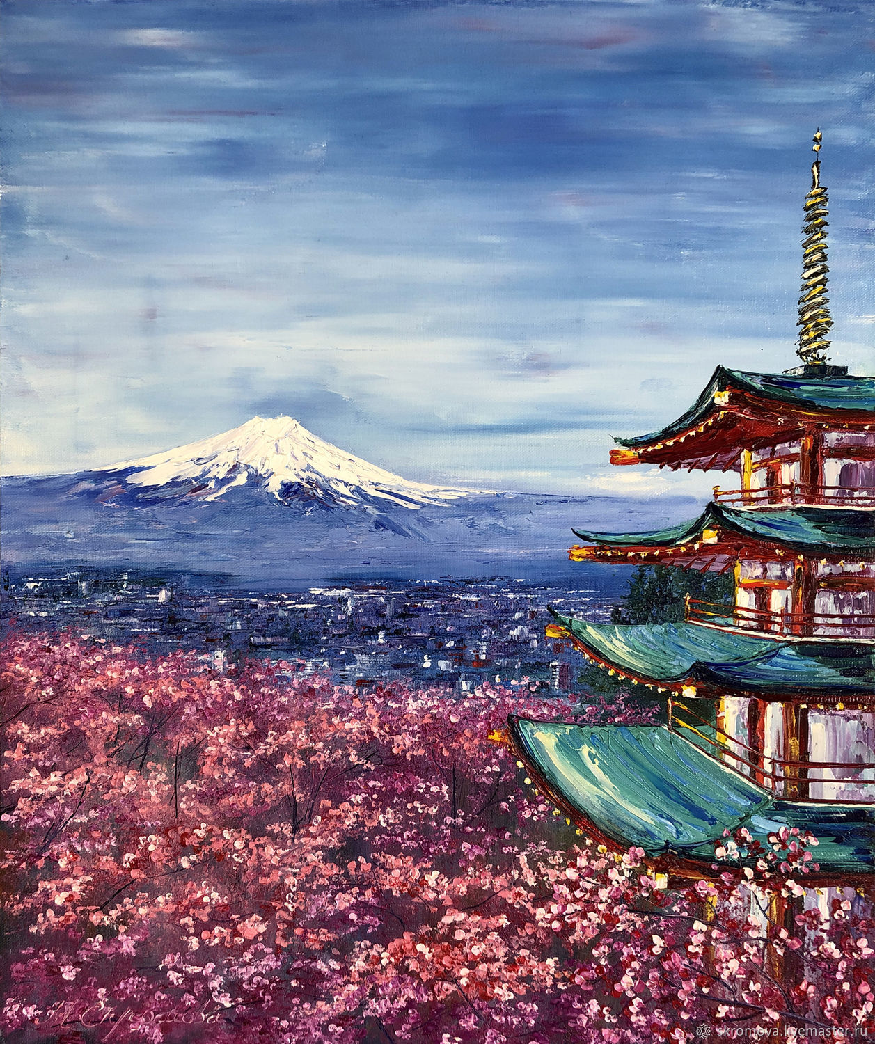 Oil painting Japanese motifs of Mount Fuji, Pictures, Moscow,  Фото №1