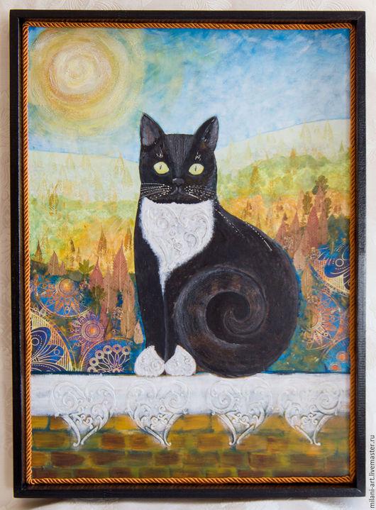 Животные ручной работы. Ярмарка Мастеров - ручная работа. Купить Кот, черный кот, фантазийный кот, панно, картина. Handmade.