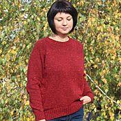 Одежда handmade. Livemaster - original item Tweed ruby sweater. Handmade.