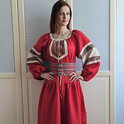 Русский стиль handmade. Livemaster - original item Dress long red linen Slavic folk. Handmade.