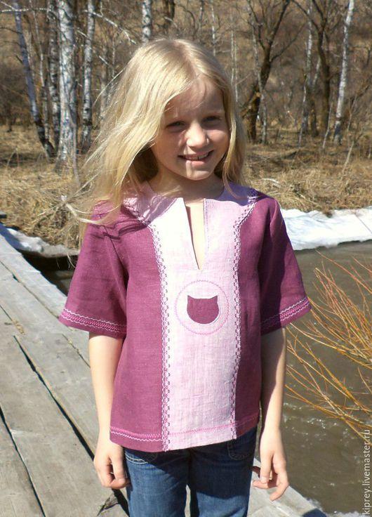 """Одежда для девочек, ручной работы. Ярмарка Мастеров - ручная работа. Купить Детская льняная рубашка - разукрашка """"Котёнок"""". Handmade. Комбинированный"""