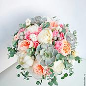 Свадебный салон ручной работы. Ярмарка Мастеров - ручная работа Букет невесты из пионов и пионовидных роз Морской бриз. Handmade.