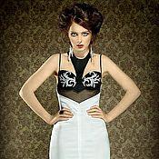 Одежда ручной работы. Ярмарка Мастеров - ручная работа Черно-белое платье с декольте. Handmade.