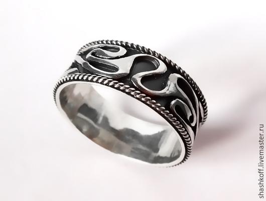 """Кольца ручной работы. Ярмарка Мастеров - ручная работа. Купить Серебряное мужское кольцо """"Кельт"""". Handmade. Чёрно-белый"""