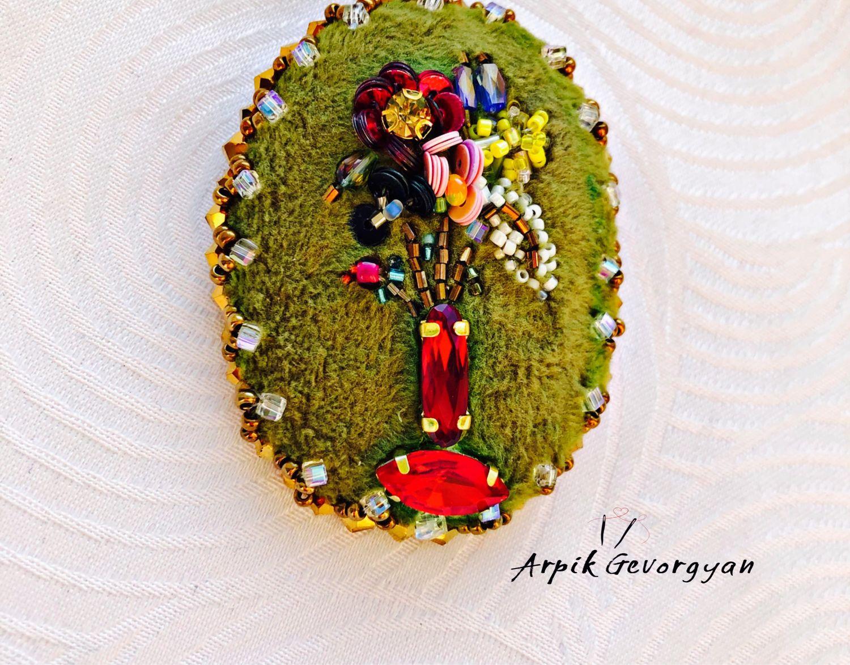 Брошь «Цветы в вазе», Брошь-булавка, Москва,  Фото №1