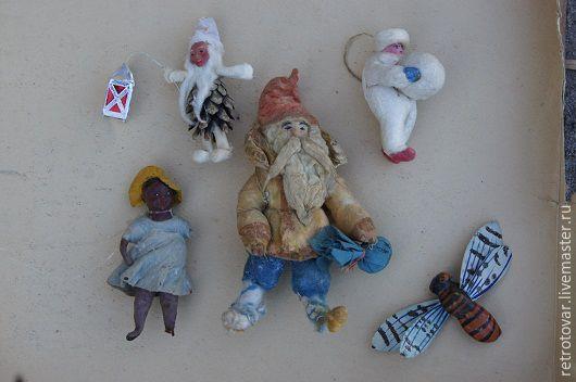 Винтажные куклы и игрушки. Ярмарка Мастеров - ручная работа. Купить Елочные игрушки из ваты. Handmade. Комбинированный, папье-маше