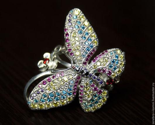 Кольца ручной работы. Ярмарка Мастеров - ручная работа. Купить кольцо Бабочка с множеством камней (серебро 925). Handmade. Разноцветный