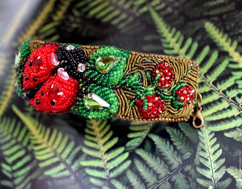Art Bracelet Strawberry Duet Design Hand Embroidery Shop
