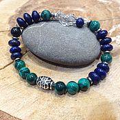 Украшения handmade. Livemaster - original item A bracelet made of beads: Silver bracelet made of malachite and lapis lazuli.. Handmade.