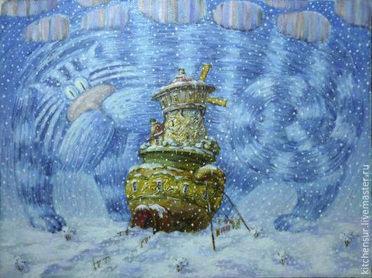 Фантазийные сюжеты ручной работы. Ярмарка Мастеров - ручная работа. Купить Ночь - Синий Кот. Handmade. Разноцветный, детская