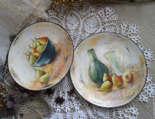 Натюрморт ручной работы. Ярмарка Мастеров - ручная работа. Купить декоративные тарелки на стену (комплект 2 шт). Handmade. Бежевый