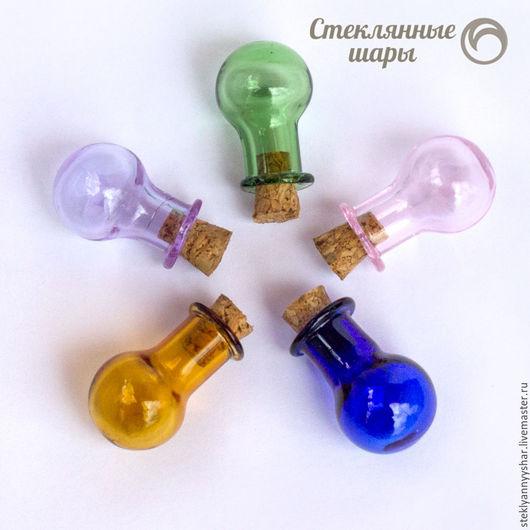 Для украшений ручной работы. Ярмарка Мастеров - ручная работа. Купить Бутылочки круглые цветные. Handmade. Бутылка, бутылочка для миниатюр