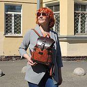 Сумки и аксессуары handmade. Livemaster - original item Backpacks: Women`s leather backpack small brown-red cue R13m-602. Handmade.