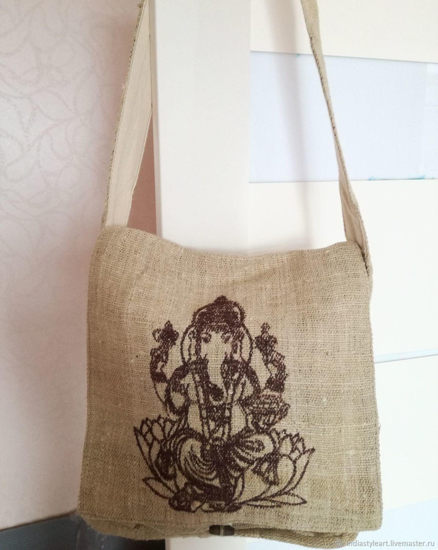 Этническая сумка из конопляной нити Ганеша, Сумка почтальона, Новосибирск,  Фото №1