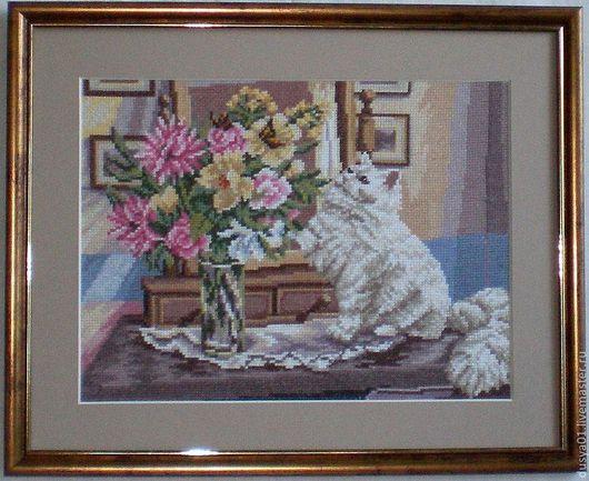 Животные ручной работы. Ярмарка Мастеров - ручная работа. Купить Панно''Кот и бабочки''. Handmade. Бежевый, кот, бабочки, цветы