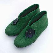 Тапочки ручной работы. Ярмарка Мастеров - ручная работа Зеленые валяные тапочки Клевер на удачу. Handmade.