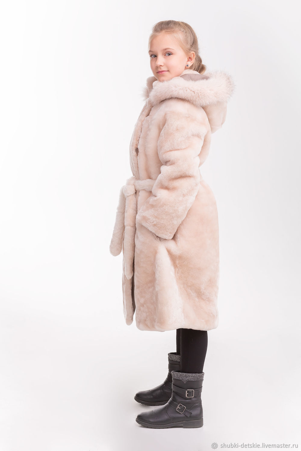9ff1408de52e Mouton coat with belt – shop online on Livemaster with shipping ...