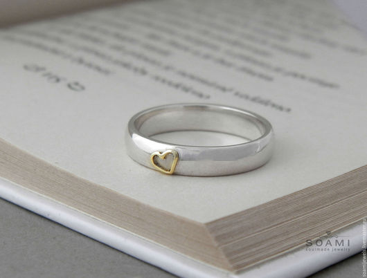 Кольца ручной работы. Ярмарка Мастеров - ручная работа. Купить Кольцо Сердечное, серебро 925 + золото 585. Handmade.