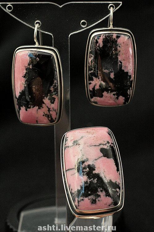 Комплекты украшений ручной работы. Ярмарка Мастеров - ручная работа. Купить Комплект с родонитом - 151. Handmade. Розовый