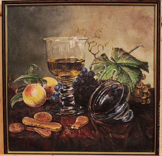 Натюрморт ручной работы. Ярмарка Мастеров - ручная работа. Купить Бокал вина. Handmade. Коричневый, бокал, печенье, персик, листья