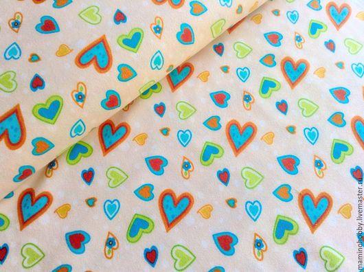 Шитье ручной работы. Ярмарка Мастеров - ручная работа. Купить Ткань фланель для пэчворка Сердечки крем. Handmade. Пэчворк