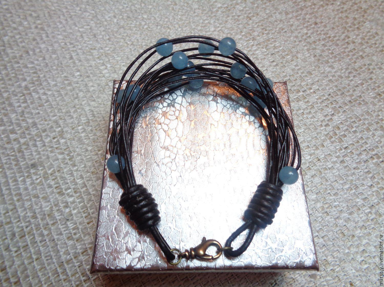 A leather bracelet and jade, Bead bracelet, Sergiev Posad,  Фото №1