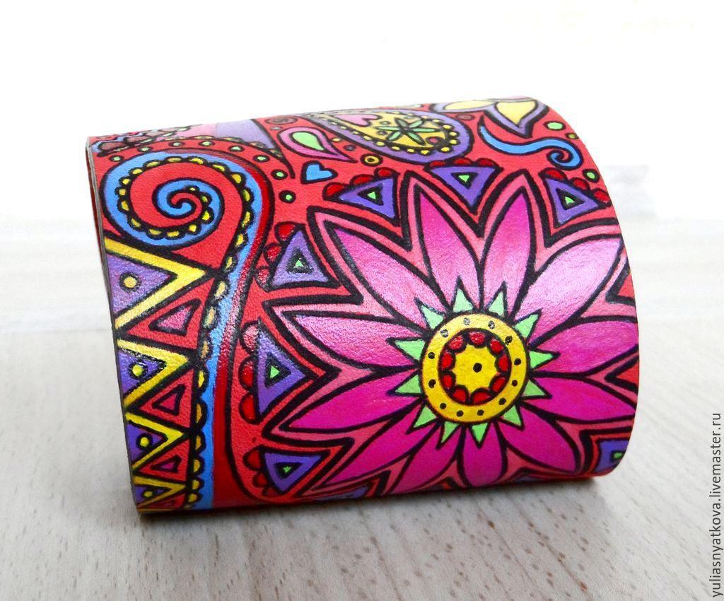 Wide genuine leather bracelet - Boho chic style, Hard bracelet, St. Petersburg,  Фото №1