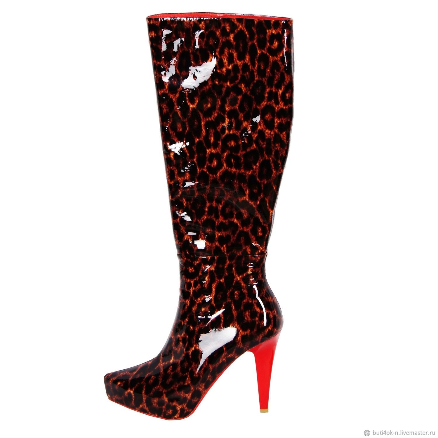 Boots made of genuine patent leather with leopard print, High Boots, Nelidovo,  Фото №1