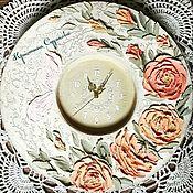 """Для дома и интерьера ручной работы. Ярмарка Мастеров - ручная работа Часы """"Чайные розы"""". Handmade."""