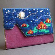 Сумки и аксессуары handmade. Livemaster - original item Clutch bag NIGHT FIRE LOTUS velvet, beads, pearls, swarovski. Handmade.