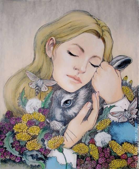 Фантазийные сюжеты ручной работы. Ярмарка Мастеров - ручная работа. Купить Алиса. Handmade. Кремовый, графика, кролик, цветы, картина