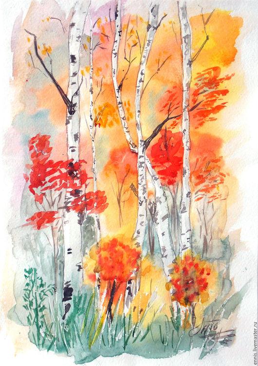 """Пейзаж ручной работы. Ярмарка Мастеров - ручная работа. Купить Акварель """"Осенняя роща"""". Handmade. Рыжий, золотая осень, акварель"""