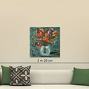 Картины и панно handmade. Livemaster - original item Painting Flowers in a vase palette knife 50H50. Handmade.