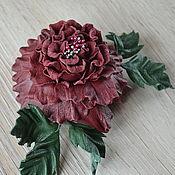 handmade. Livemaster - original item Flowers leather rose brooch Dorothy. Handmade.