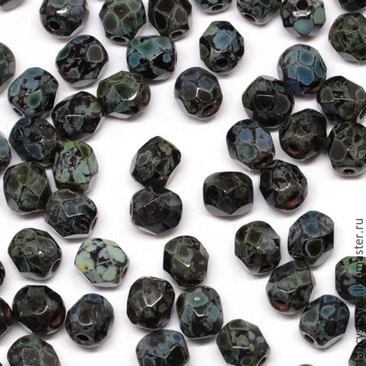 Для украшений ручной работы. Ярмарка Мастеров - ручная работа. Купить 50шт 4мм Чешские граненые бусины Черный Мрамор Fire polished beads. Handmade.