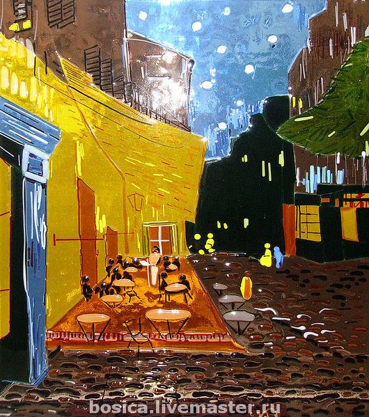 """Репродукции ручной работы. Ярмарка Мастеров - ручная работа. Купить """"Ван Гог""""   стекло, техника фьюзинг. Handmade. Стекло для фьюзинга"""