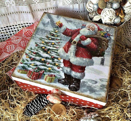 Корзины, коробы ручной работы. Ярмарка Мастеров - ручная работа. Купить Короб шкатулка Новогодний подарок. Handmade. Комбинированный