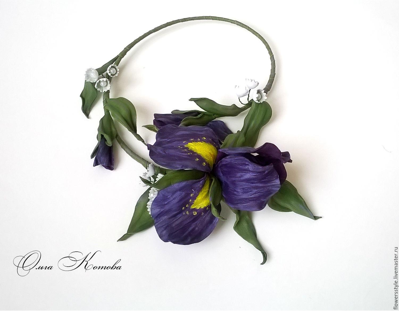 Decoracin De Flores Collar De Cuero Violeta Iris Collar De Flores
